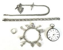 Five Victorian and later silver items, comprising an Edward VII Albert chain, 33cm long, with