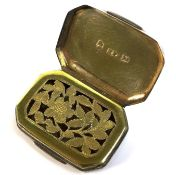 A George III silver vinaigrette, of octagonal form with and engraved thistle to its top, a parcel