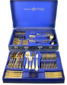 A canteen of SBS Bestecke Solingen 24ct gold plated flatware, in leatherette case.