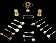 A collection of Victorian and later silver wares, comprising thirteen silver salt and condiment