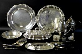 A collection of silver plated wares, including Danish items, a presenttion tray and another, a bowl,