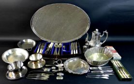 A collection of silver plated items, including a large oval galleried silver plated tray with four