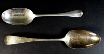 Two 19th century silver table spoons, comprising a George III Scottish silver table spoon,