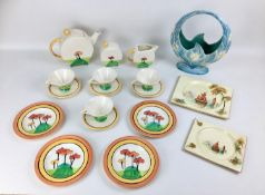 A collection of Art Deco and similar style ceramics, comprising, a Beswick Art Deco style floral