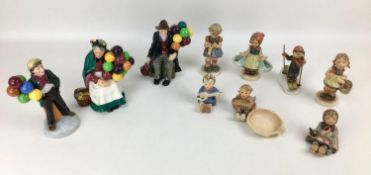 A collection of Royal Doulton and Hummel figurines, comprising, three Royal Doulton figurines, '