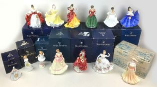Thirteen Royal Doulton and Coalport figurines, all most boxed, comprising twelve Royal Doulton