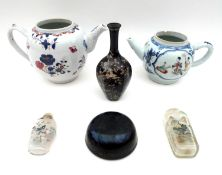 A group of six Oriental wares, including a European tea pot decorated in the Chinese style, 22 by 12