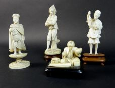 A group of four late 19th /early 20th century ivory figures, comprising an okimono of a fisherman on