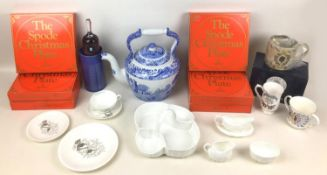 A collection of ceramics, including a large Spode 'Italian' pattern kettle, 33 by 22 by 32cm high, a