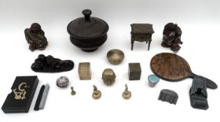A group of Oriental pottery, bronze and collectables, including an earthenware pot and cover