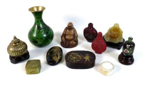 A group of Oriental decorative items, mostly Chinese, comprising an oval faux tortoiseshell box