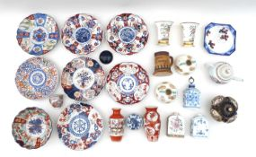 A large group of English, European, Chinese and Japanese ceramics, including seven Japanese Imari
