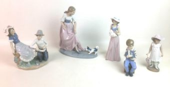 """Five Nao by Lladro porcelain figurines, comprising """"Let's play"""" figurine of young lady with a"""