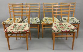 A set of six Meredew Furniture beech ladder back dining chairs.