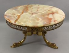 A French green onyx marble and gilt meta