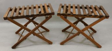 A pair of Haynes slatted wooden folding