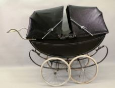 A Fred McKenzie for Millsoms twin perambulator, the black coachwork with white ruling,