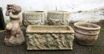 A pair of pre-cast classical terrace urn