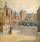 English School, 20th Century, St James Palace, watercolour, 36 x 34cm and after George Morland,