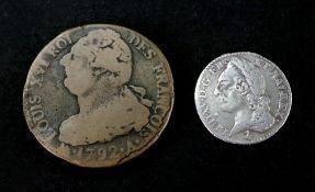 A Louis XV silver 1/10 ecu a la vielle t