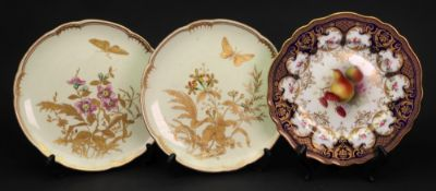 A pair of Derby dessert plates, gilt with butterflies,
