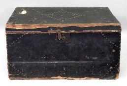 A 19th century brass studded black canva