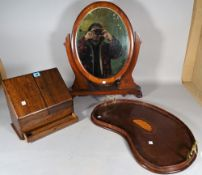An Edwardian inlaid mahogany kidney shaped galleried tray, 58cm wide,