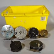 Fishing equipment; six vintage reels, two Victorian brass trout reels,