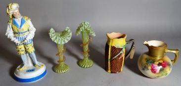 A Royal Worcester jug, a pair of glass vases, a Majolica jug and a Continental figure, 26cm high,