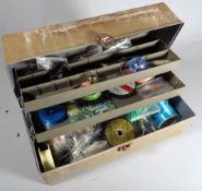 A Focus tackle/ tool box full of fly tying materials, salmon and trout hooks all unused,