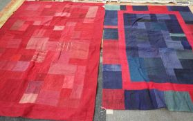 A patchwork cover, red, 198 x 143 and a similar cover, blue, 180cm x 134cm.
