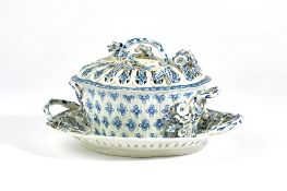 A Worcester blue and white two-handled shaped oval chestnut basket, pierced cover and stand,