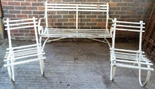An early 20th century white painted metal slatted garden bench,