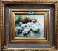 M. Hanson (20th/21st century), Ducks, oil on panel, signed, 19cm x 24cm.