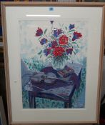 British School (contemporary), Still lives, two colour prints,