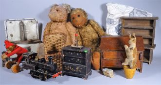 A quantity of early 20th toys, teddies and sundry, (qty).