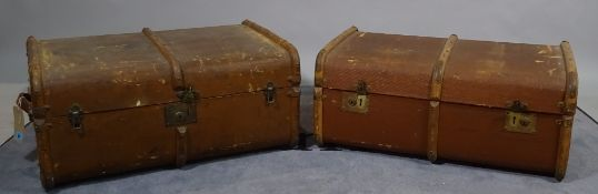 Two early 20th century canvas and Bentwood travelling suitcases,