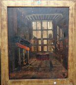 Follower of Frank Moss Bennett, a 17th century Hall interior, oil on canvas, 73cm x 60cm.