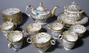 A Coalport white and gilt part tea and coffee service, (qty).