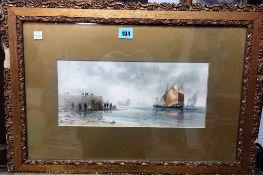 After Thomas Bush Hardy, Coastal scenes, a pair, chromolithographs, each 14.5cm x 33cm,(2).