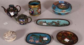 Asian collectables, including; two miniature cloisonné tea pots, three cloisonné dishes and sundry,