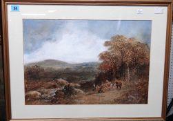 A. McArthur (19th century), The log team, watercolour, signed, 35cm x 51cm.