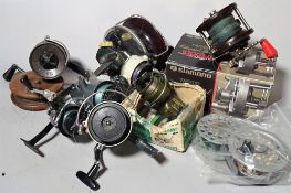 Fishing equipment; reels, sea coarse and fly, a Speedex fly reel, two Abu Cardinal reels,