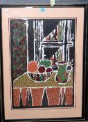 Maggie Walker (contemporary), Still life, mixed media, signed, 53cm x 37cm.