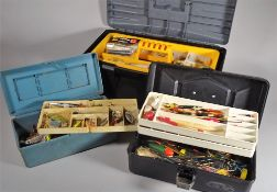 Fishing equipment; Two tackle boxes, an Old Pal box with over 100 vintage floats some lures,