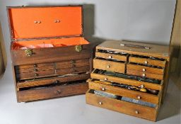 Two 20th century tool boxes containing watch and clock makers tools.