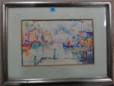 Manner of Paul Signac, On the Bosphorus, watercolour, bears a signature, 23cm x 37cm.