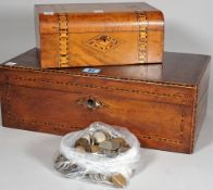 A 19th century mahogany writing slope, 40cm wide, a marquetry inlaid box, 25cm wide,