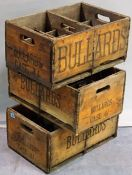 A group of three early 20th century 'Bullards' bottle carrying boxes.