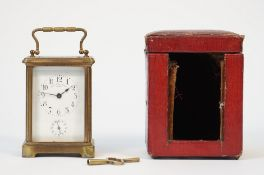 A Swiss brass cased carriage clock, late 19th century, by Golay Fils and Stahl Geneve,